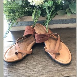 Hush puppy size 7 moyen brown leather sandals